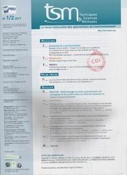 Techniques sciences méthodes. 1-2, Lundi 9 Janvier 2017  