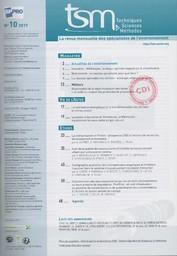 Techniques sciences méthodes. 10, Lundi 9 Octobre 2017  