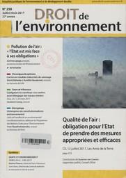 Droit de l'environnement. 258, Dimanche 9 Juillet 2017  