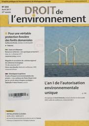 Droit de l'environnement. 255, Dimanche 9 Avril 2017  