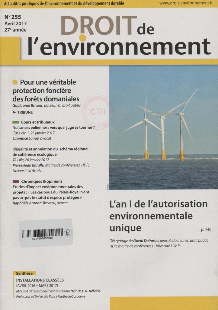 Droit de l'environnement. 255, Dimanche 9 Avril 2017 |