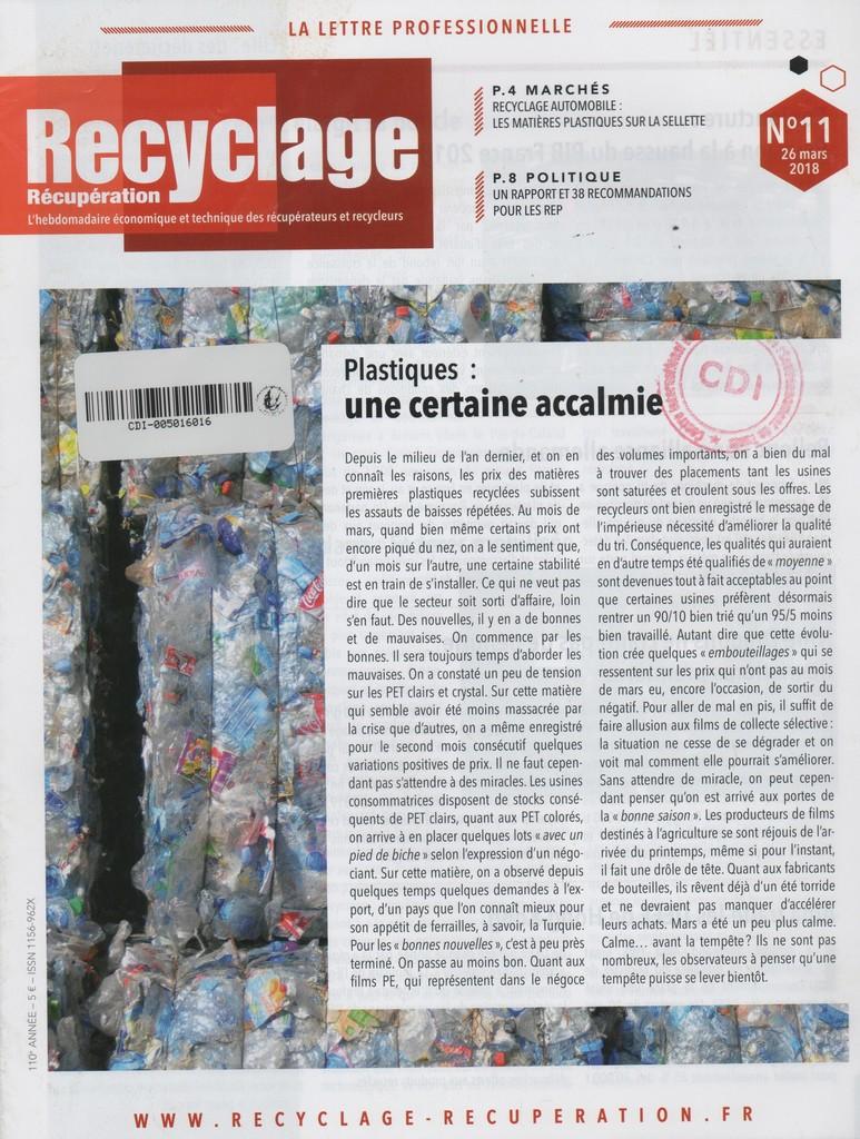 Recyclage récupération. 11, Lundi 26 Mars 2018 |